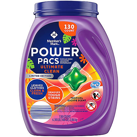 Member's Mark Power Pacs Laundry Detergent, Tropical Escape, Limited Edition (130 ct.)