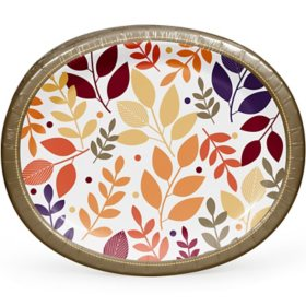 "Member's Mark Fall is Coming Oval Paper Plates 10"" x 12"" (55 ct.)"