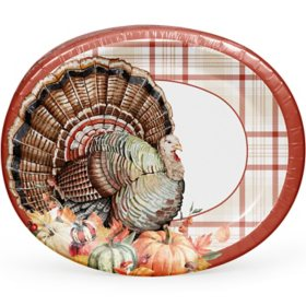 Member's Mark Always Thankful Thanksgiving Oval Paper Plates - 55 ct.