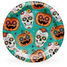 "Member's Mark Sugar Skull and Pumpkin Fiesta Paper Plates 10"" - 90 ct."