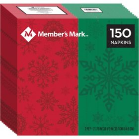 Member's Mark Red and Green Snowflakes Dinner Napkins - 150 ct.