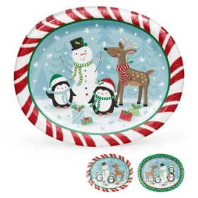 Member's Mark Snowman and Holiday Friends Oval Paper Plates - 55 ct.