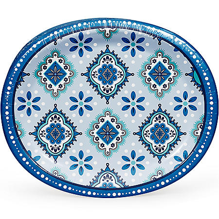 "Member's Mark Mandala Magnificence Oval Paper Plates, 10"" x 12"" (55 ct.)"