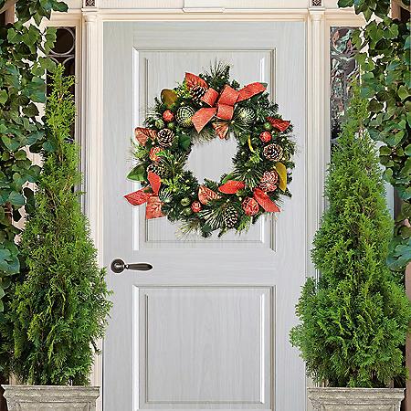 "Member's Mark 32"" Pre-Lit Decorative Red Wreath"