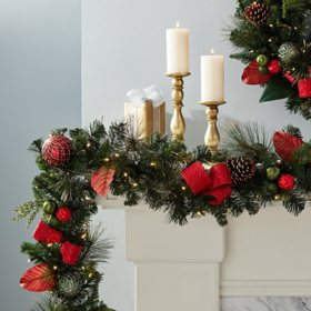 Member's Mark 9' Pre-Lit Decorative Red Garland