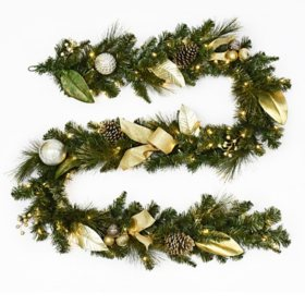 Member's Mark 9' Pre-Lit Decorative Gold Garland