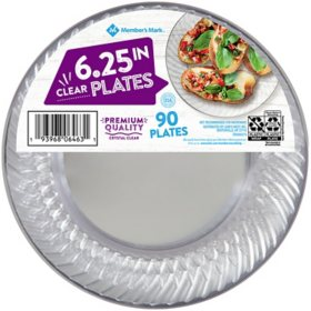"Member's Mark Clear Plastic Plates, 6.25"" (90 ct.)"