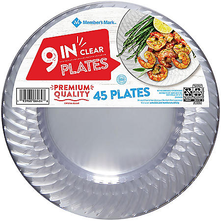 """Member's Mark Clear Plastic Plates, 9"""" (45 ct.)"""
