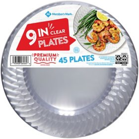 "Member's Mark Clear Plastic Plates, 9"" (45 ct.)"