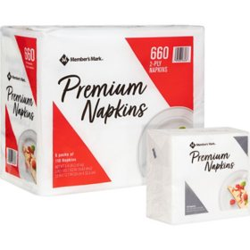 "Member's Mark Premium White 2-Ply Napkins, 13"" x 12.7"" (110 ct./pk., 6 pk.)"