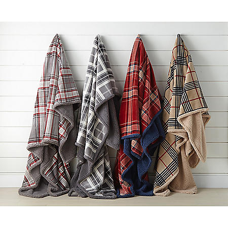 Member's Mark Lodge Collection Velvet Plush Sherpa Blanket (Assorted Colors and Sizes)