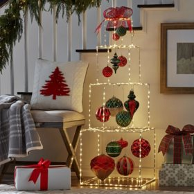 Member's Mark Pre-Lit Stacked Giftbox Decor, Red