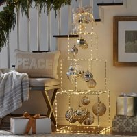 """Member's Mark Pre-lit 52"""" Stacked Gift Box Décor (Gold)"""