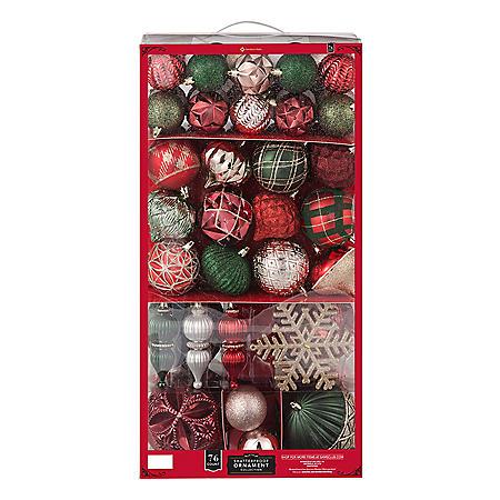 Member's Mark 76 ct. Shatterproof Ornament Collection (Holiday Splendor)