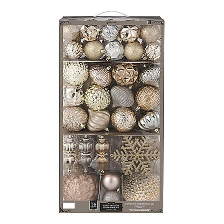 Member's Mark 76-ct. Shatterproof Ornament Collection (Luminous Reflections)