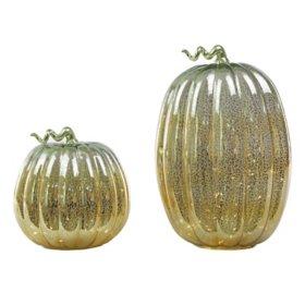 Member's Mark Pre-Lit Mercury Glass Pumpkins (Set of 2)