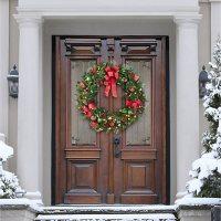 """Member's Mark Pre-Lit 48"""" Decorated Double Door Wreath (Red)"""