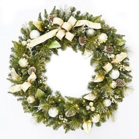 "Member's Mark 48"" Pre-Lit Decorative Gold Wreath"