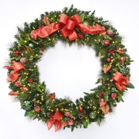 "Member's Mark 60"" Pre-Lit Decorative Red Wreath"
