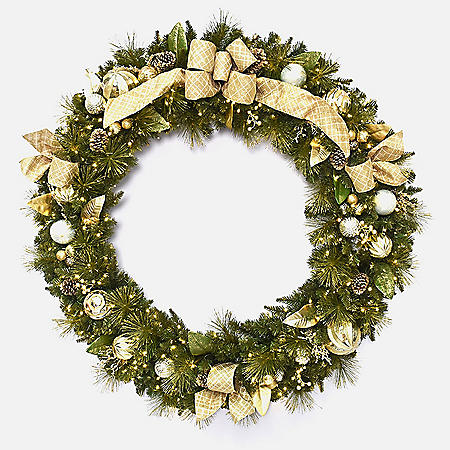 "Member's Mark 60"" Pre-Lit Decorative Gold Wreath"
