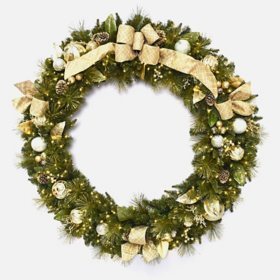 "Member's Mark 60"" Pre-Lit Decorative Gold Wreath"