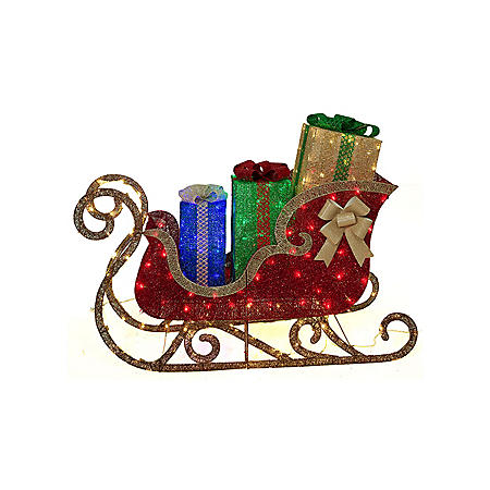Member's Mark 54'' Pre-Lit Glittering Sleigh with Twinkle Effect