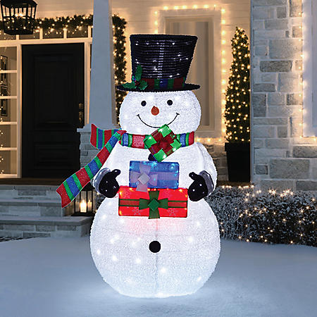 "Member's Mark 72"" LED Pop-up Twinkling Snowman With Stacked Giftboxes"