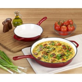 "Member's Mark 9"" and 13"" Cast Iron Enamel Skillet, 2-Pack (Assorted Colors)"