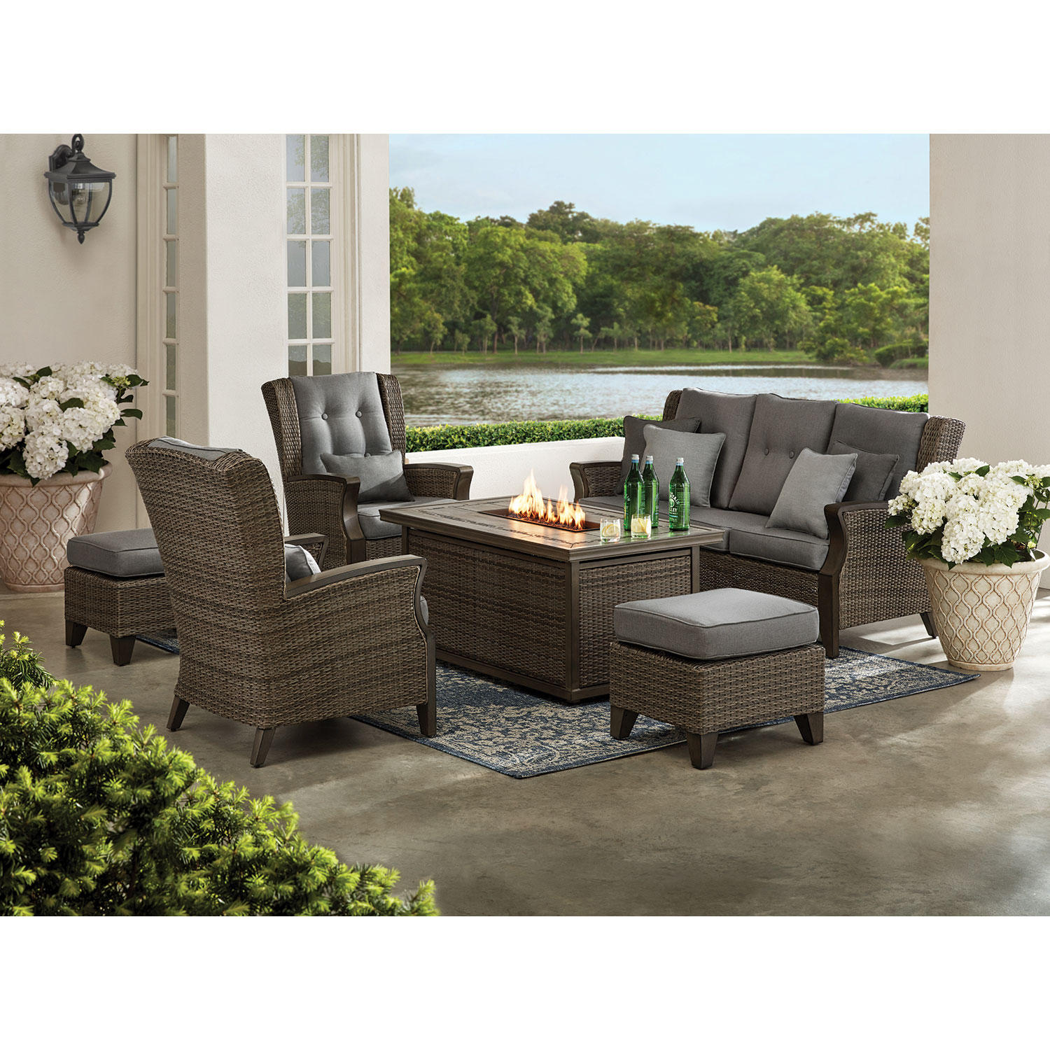 Member's Mark Agio Newcastle 6-Piece Patio Deep Seating Set with Fire Pit and Sunbrella Fabric