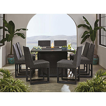 Member S Mark Adler 9 Piece Counter Height Dining Set With Fire Pit Sam S Club