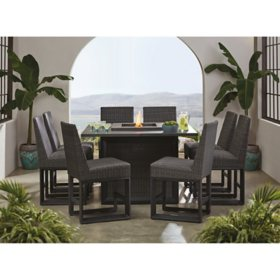 Member's Mark Adler 9-Piece Counter Height Dining Set with Fire Pit