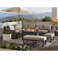 Member's Mark Athena 7-Piece Sectional with Firepit - Cast Ash