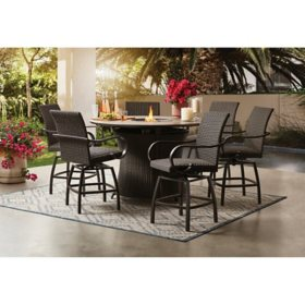 Member's Mark Homewood 7-Piece Counter-Height Fire Pit Set