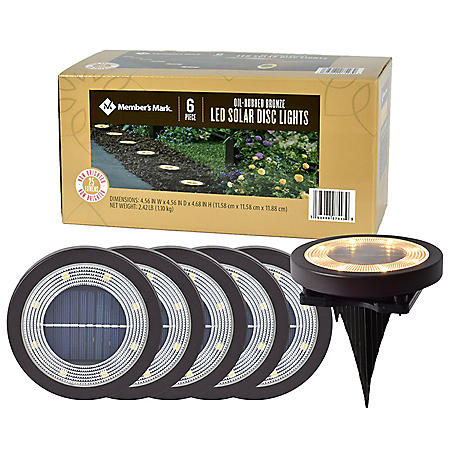Member's Mark 6-Piece Oil-Rubbed Bronze LED Solar Disc Lights