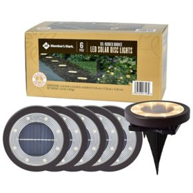 Member's Mark 6 Piece LED Solar Disc Lights - Oil-Rubbed Bronze
