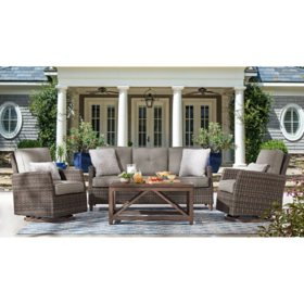 Member's Mark Agio Fremont 4-Piece Patio Deep Seating Set with Sunbrella Fabric - Grey