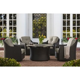 Member's Mark Agio Heritage 5-Piece Fire Pit Chat Set with Sunbrella Fabric - Shale