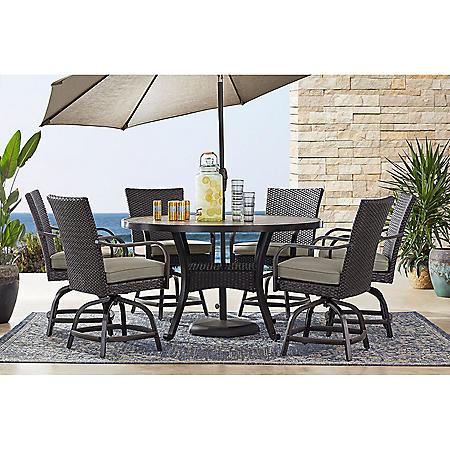 Member's Mark Agio Heritage 7-Piece Balcony-Height Patio Dining Set with Sunbrella Fabric, Dove Gray