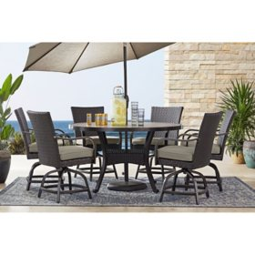 Member's Mark Agio Heritage 7-Piece Balcony-Height Patio Dining Set with Sunbrella Fabric, Dove Gray