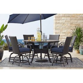 Member's Mark Agio Heritage 7-Piece Balcony-Height Patio Dining Set with Sunbrella Fabric - Indigo