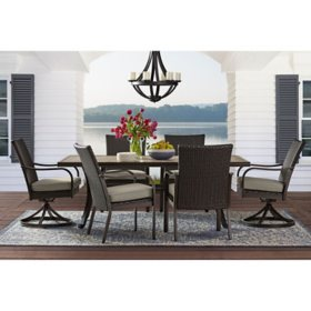Member's Mark Agio Heritage 7-Piece Patio Dining Set with Sunbrella Fabric