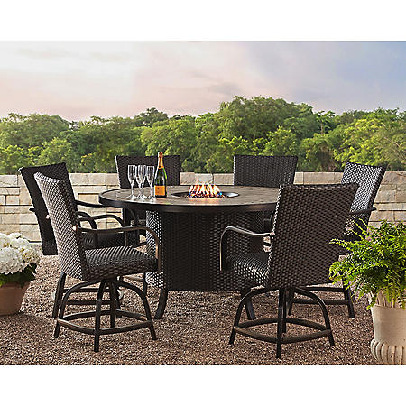 Member's Mark Agio Heritage 7-Piece Balcony Dining Set with Fire Pit