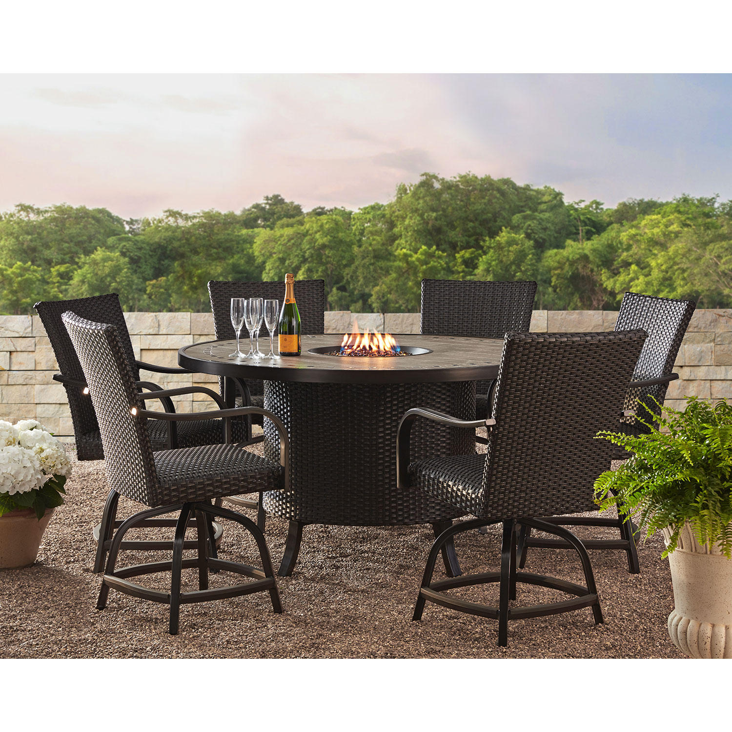 Member's Mark Agio Heritage 7-Piece Balcony Patio Dining Set with Fire Pit