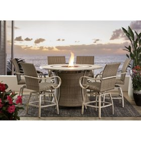 Member's Mark Homewood 7-Piece Counter-Height Fire Pit Set - Grey