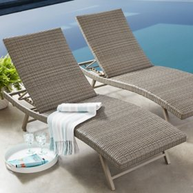 Member's Mark 2-Pack Padded Wicker Chaise - Grey