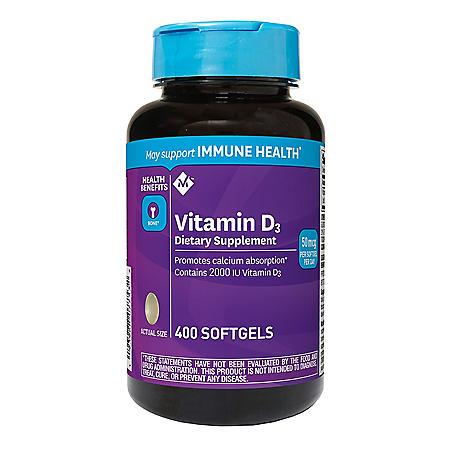 Member's Mark Vitamin D3 50 mcg (2000 IU) Dietary Supplement (400 ct.)