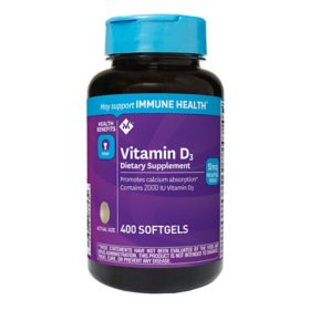 Member's Mark Vitamin D3 50 mcg (2000 IU) Dietary Supplement (400 ct.)