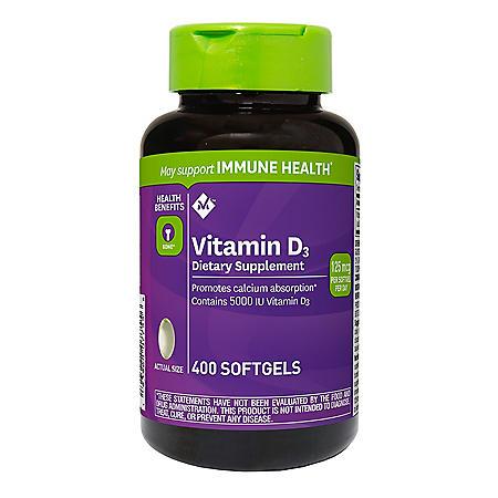 Member's Mark Vitamin D3 125 mcg (5000 IU) Dietary Supplement (400 ct.)