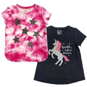 Member's Mark Girl's 2pk Flip Sequin Tee