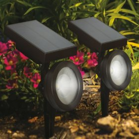 Member's Mark 2-Piece LED Solar Spot Lights, Oil-Rubbed Bronze